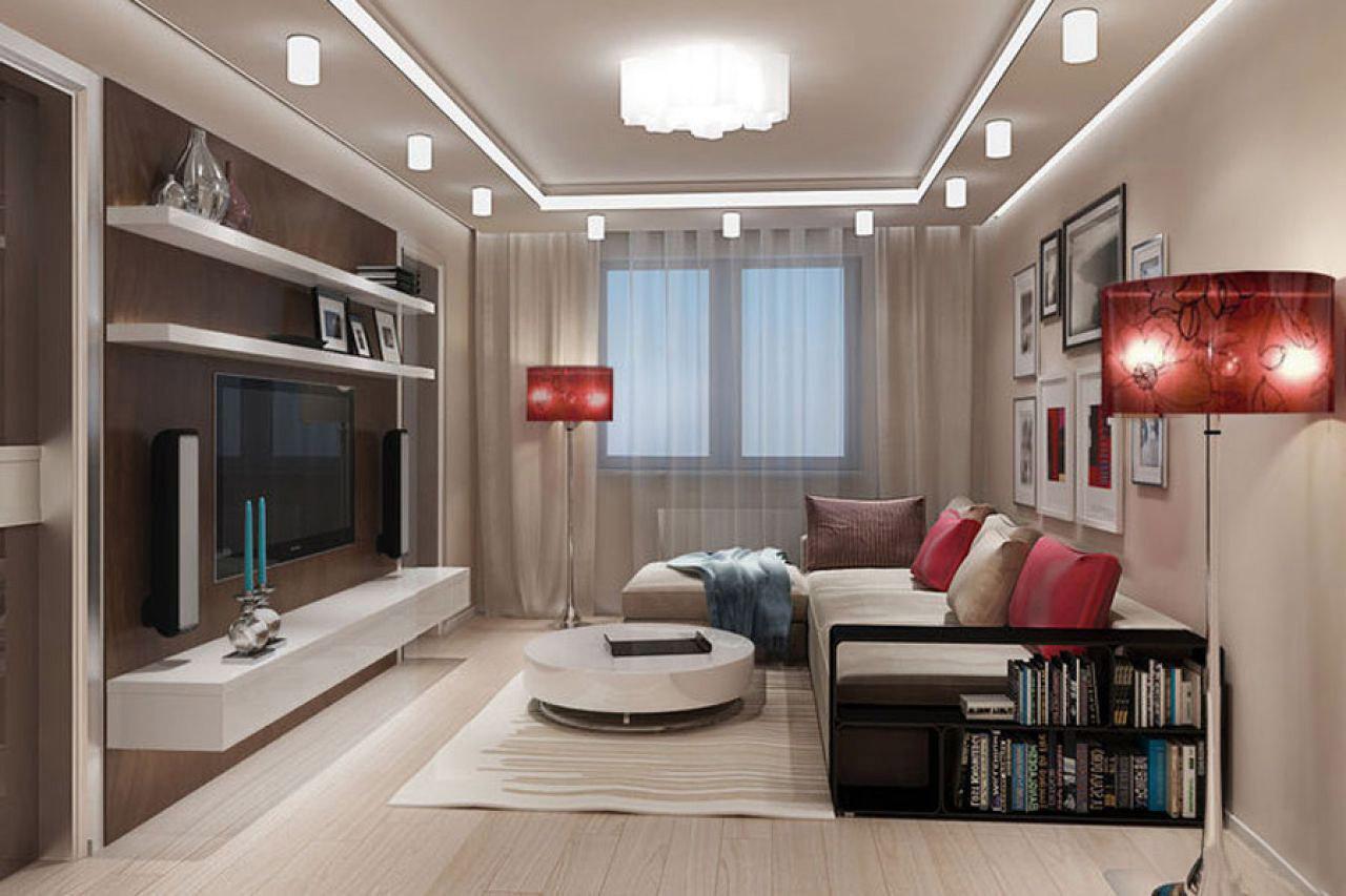 Интересный дизайн гостиной комнаты