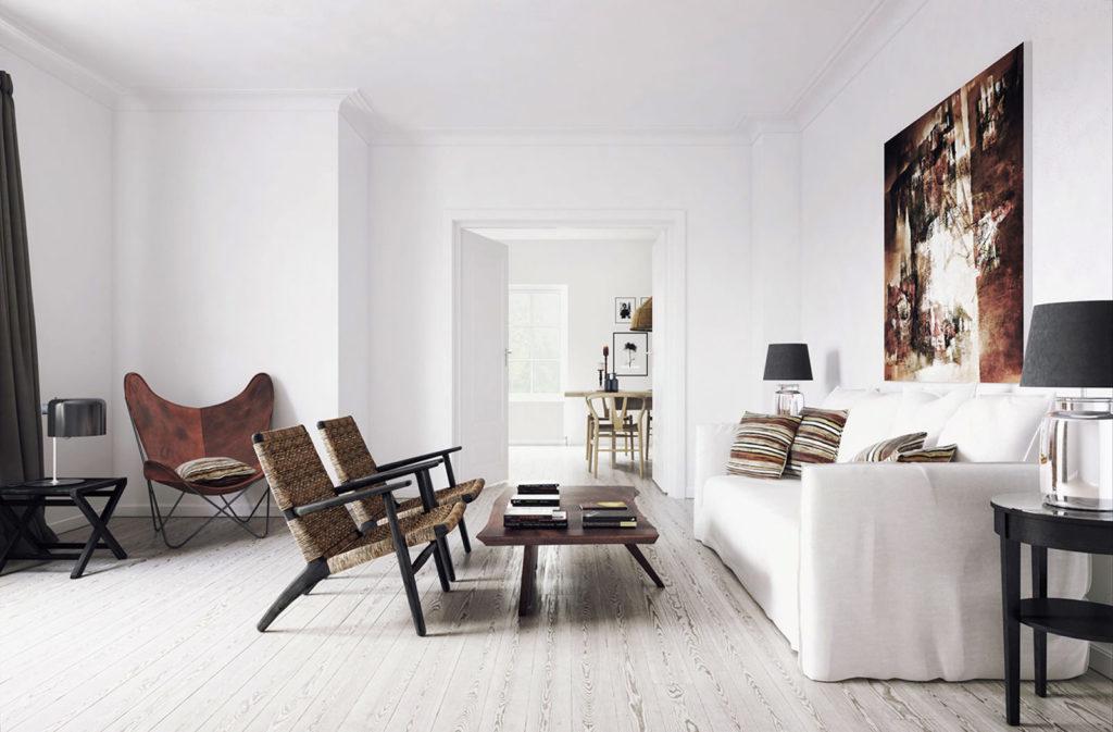 Белый цвет  в качестве фона отделки квартиры