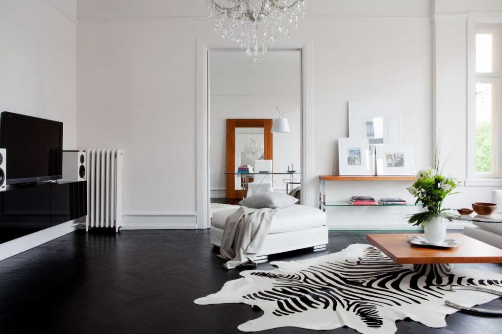 Имитация шкуры животного в интерьере квартиры