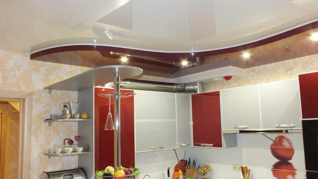 все двух уровненный натяжной потолок на кухню фото наших