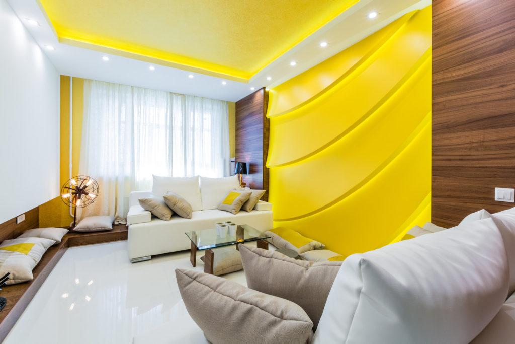 Желтые тона для комнаты, выходящей окнами на север