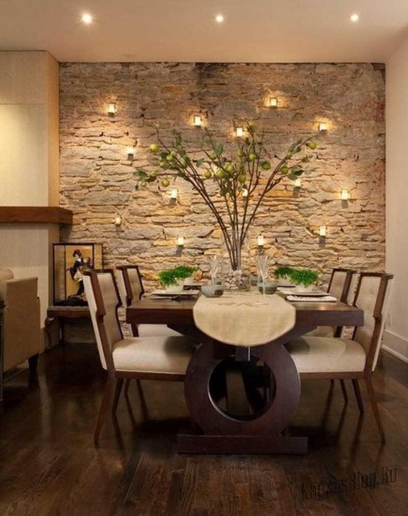 Отделка гостиной декоративным камнем