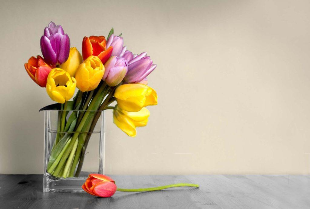 Фон для открытки с цветами в вазе