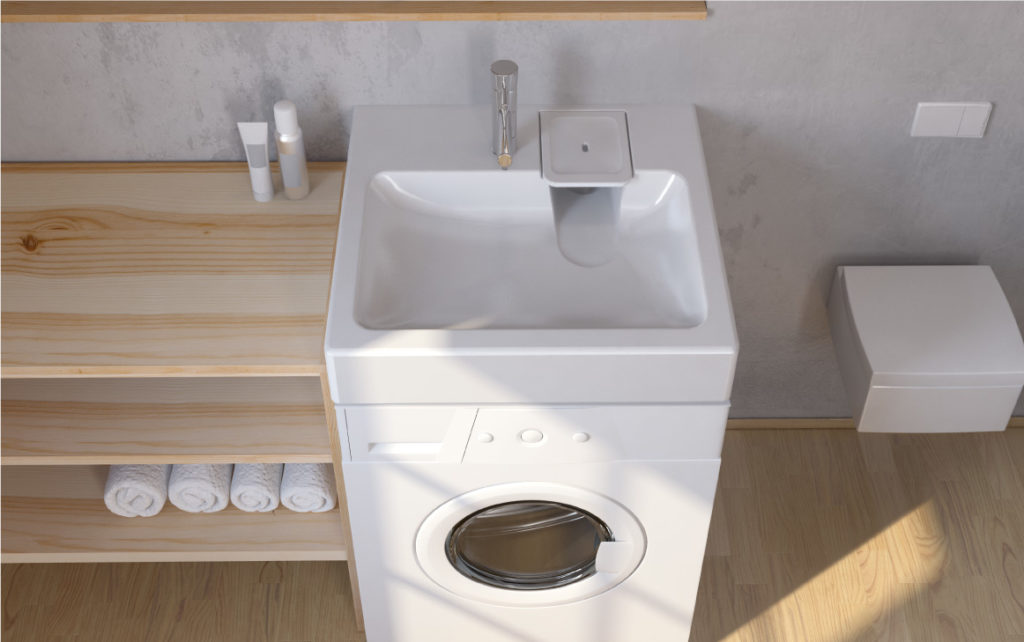 Как разместить раковину над стиральной машинкой